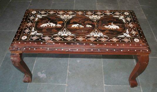 bone India tea table 1930 madera y marquetería de hueso