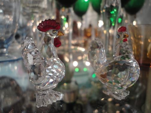 Miniaturas gallo y gallina en cristal Swarovski