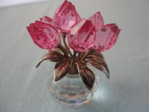 Miniatura cesta de tulipanes en cristal Swarovski