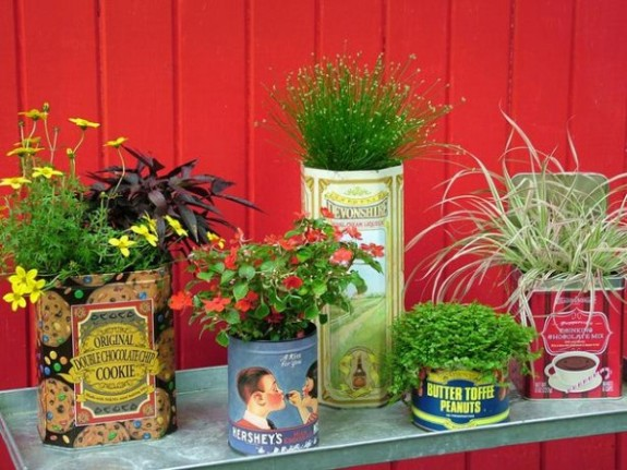 decorating with tin boxes the garden