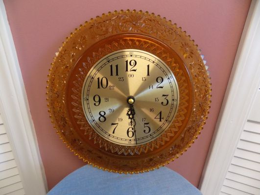 depression glass clock