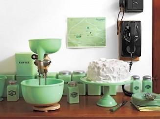 depression glass kitchen accesories