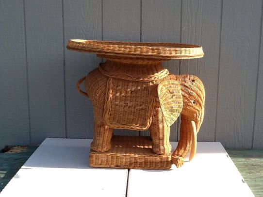 wicker elephant table