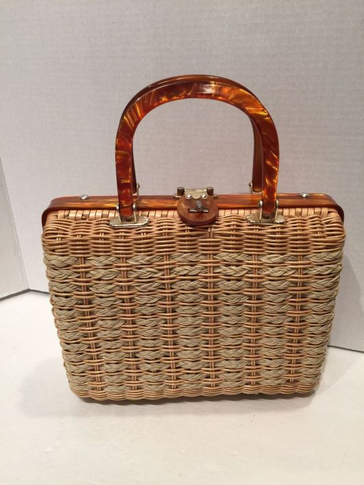 wicker handbag 1950