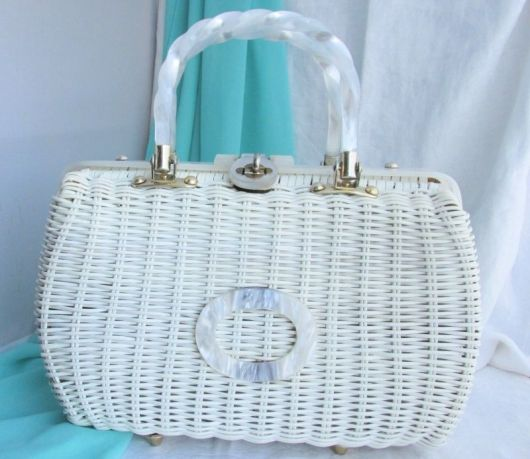 wicker white handbag