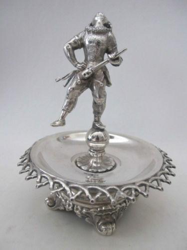 arlequin de plata para poner sortijas 1850 sueco