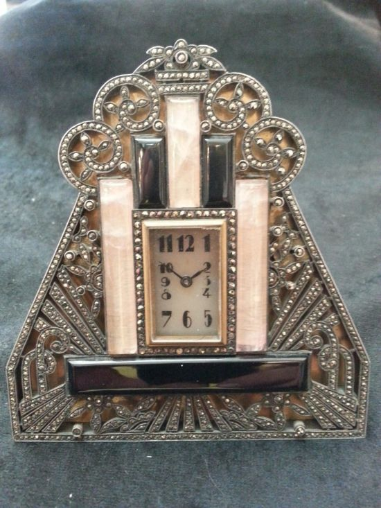 reloj art deco alemán 1920 plata marquesita onix rosado y negro
