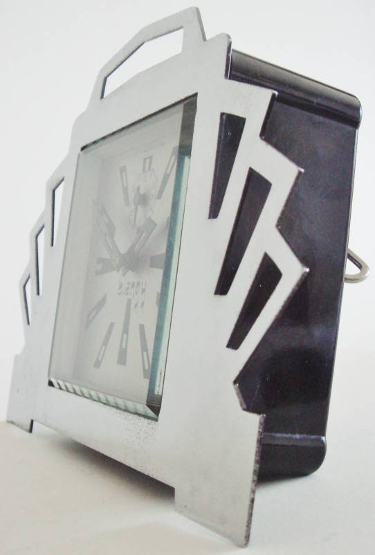 reloj art deco francés 1920 cromo