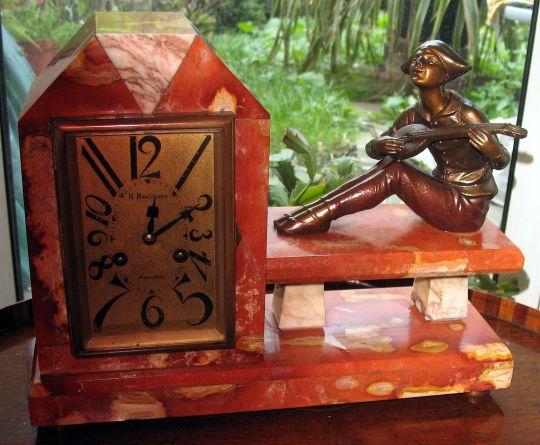 reloj art deco francés 1920 onix pierrot