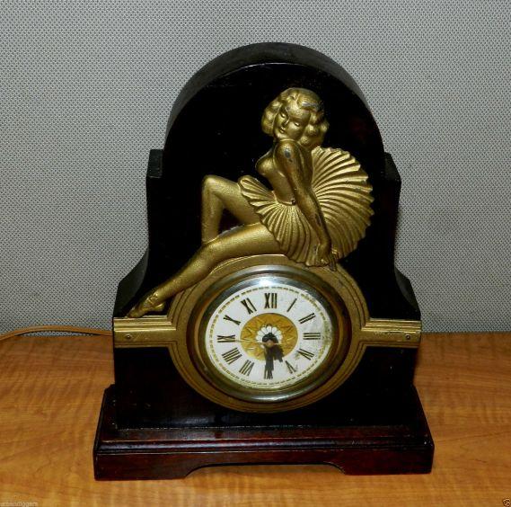 reloj art deco norteamericano 1920 ebano bronce
