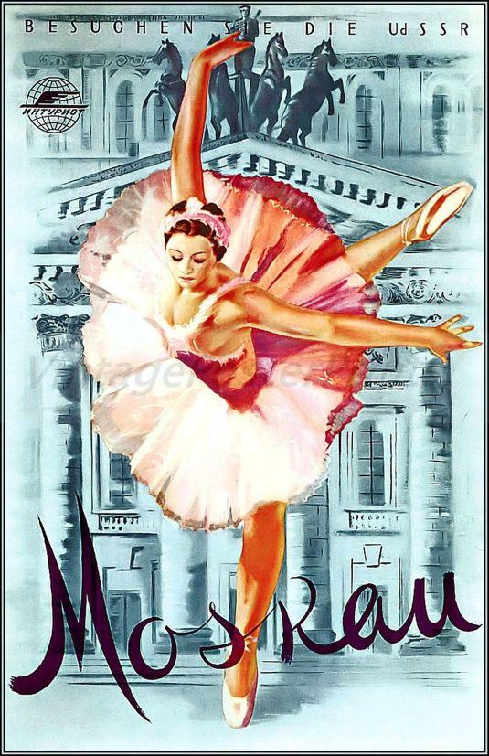 Antiguo poster del ballet de Moscú, 1959.