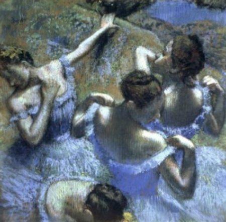Bailarinas detrás del scenario por Edgar Degas, 1898.