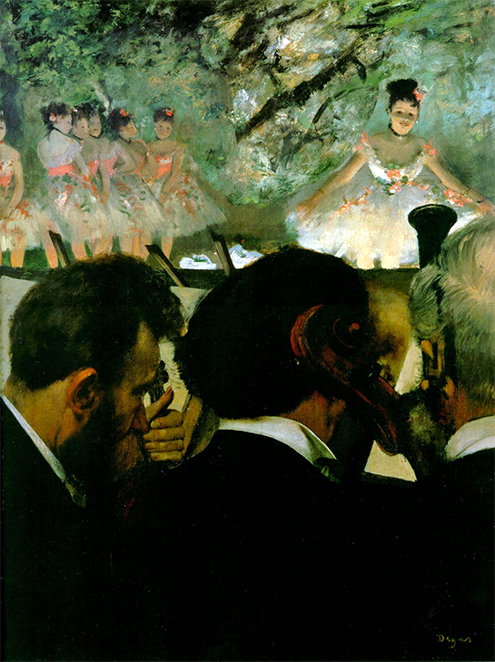 bailarinas edgar degas musicos en la orquesta 1872