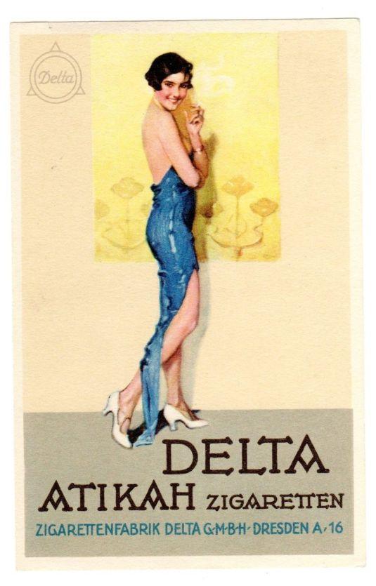 Cigarrillos Delta, publicidad estilo Art Deco, Alemania 1920.