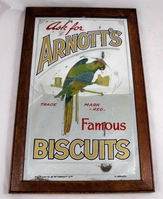 publicidad australiana de galletas sobre espejo 1930