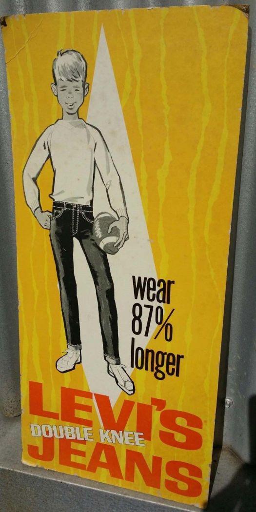 Cartel de pie en carton de jeans Levis. Estados Unidos, 1960.