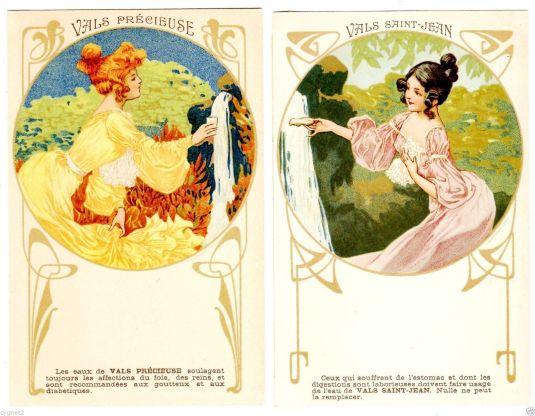 Agua mineral, publicidad estilo Art Nouveau. Francia 1880.