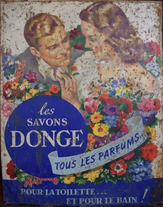 Cartel de latón Perfumes Donge. Francia, 1930.