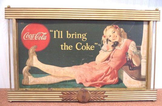 cartel de latón Coca Cola. USA, 1930.