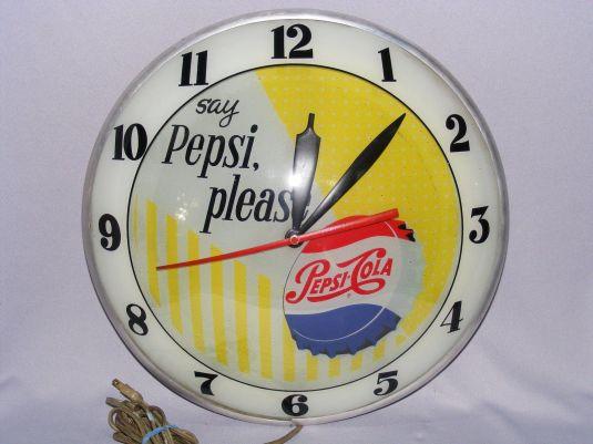 Reloj publicitario de Pepsi Cola. Estados Unidos, 1950.