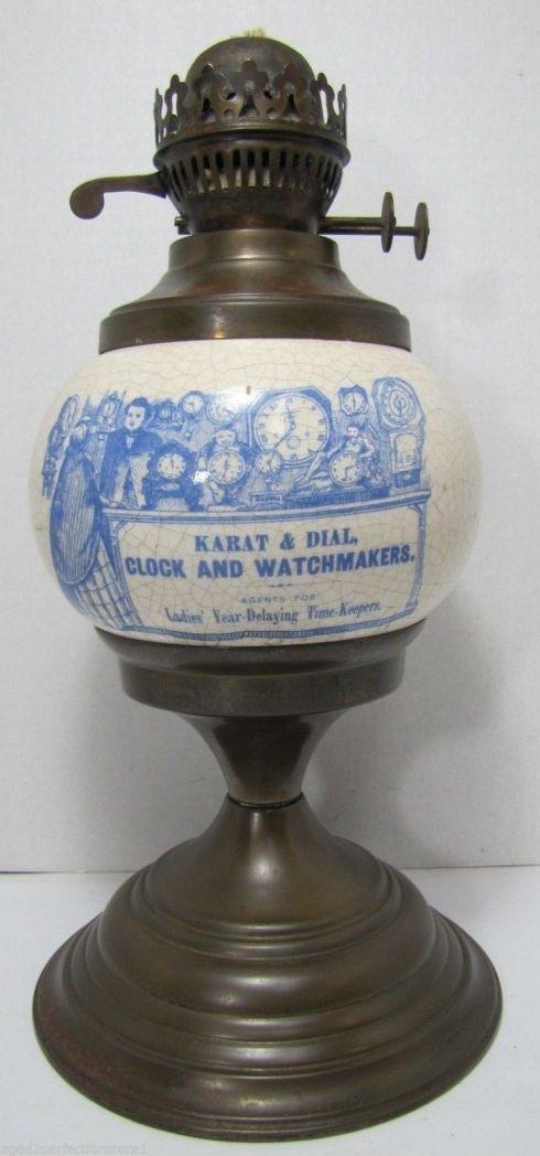 Base de lamparín publicitario de la Cía Karat & Dial Clock. Era Victoriana - Inglaterra.