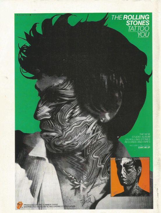 Afiche publicitario de 1981 con el rostro de Keith Richards.
