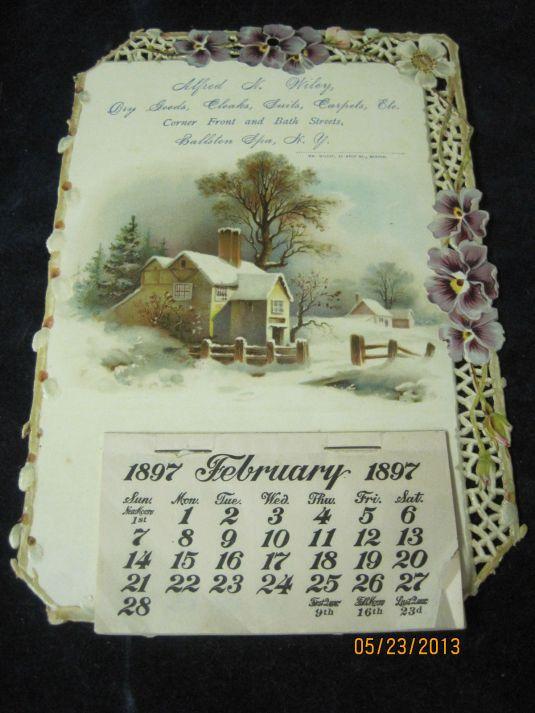 Calendario publicitario de1897 de Balston Spa, New York.