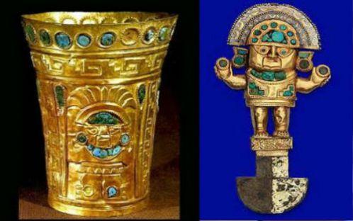 Izquierda: Kero o vaso ceremonial de oro adornado con piedras semipreciosas. Derecha: Tumi o cuchillo ceremonial de oro con piedras semipreciosas.