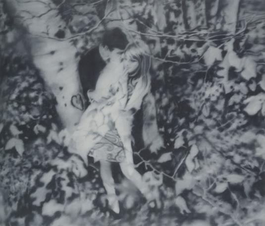 Lovers in the Forest 1966, por Gerhard Richter.