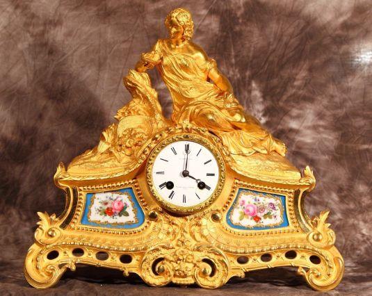 limoges reloj de bronce con porcelana 1850
