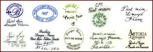 Sellos y firmas de fábricas de porcelana Limoges.