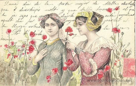 Mujeres en campo de amapolas,  tarjeta postal de 1904 estilo Art Nouveau.