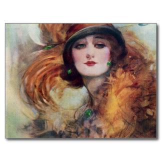 Postal de 1920 retrato Art Decó.