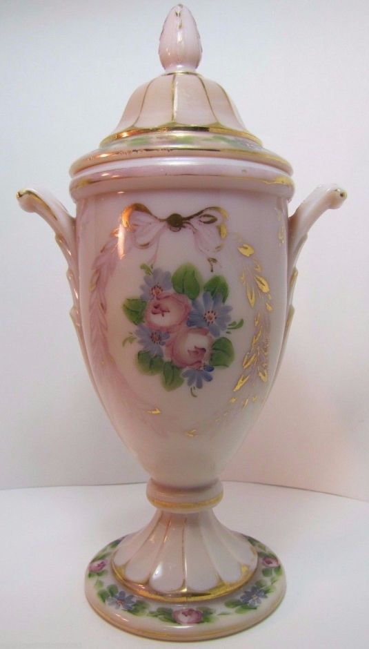 bombonera Antique Lidded Candy Jar Urn Cambridge Crown Tuscan Pink Opalescent hand painted