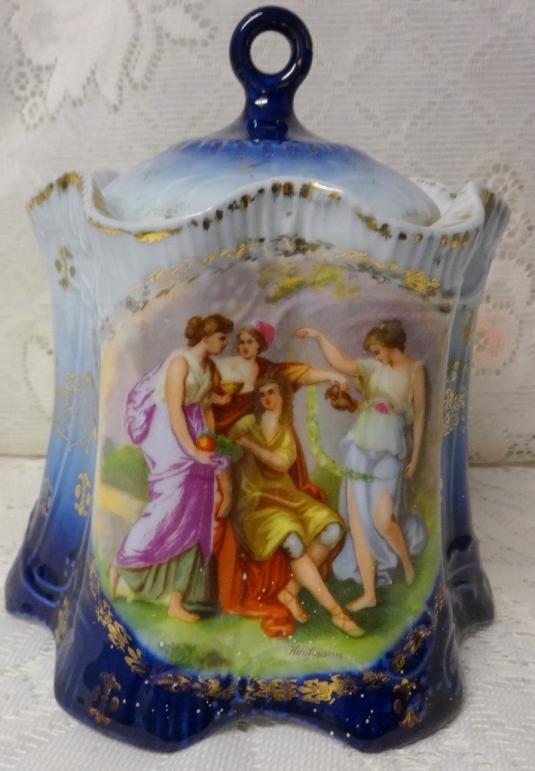bombonera Antique Victoria Austria Scenes Porcelain Biscuit Candy Pot Jar Urn Covered Vase