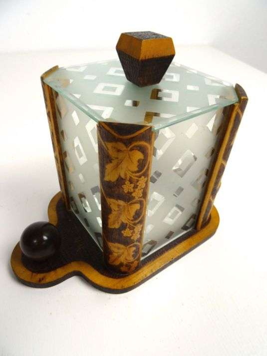 bombonera EXTRAORDINARY FRENCH ART DECO COOKIE JAR BISCUIT BOX 1930 CANDY BOX