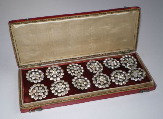 botones 1870 Unique Boxed Set of 10 French Silver & Rhinestone Buttons, Mid 19th Century