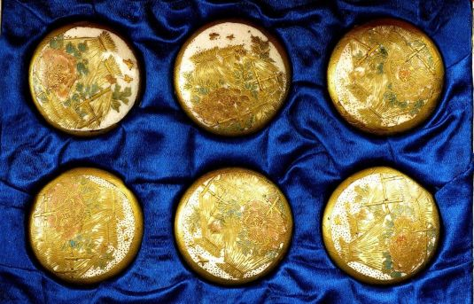 botones 1930 Set of 6 Large 1.4 D 3.5 cm Japanese Satsuma Button Flower Peony in Box