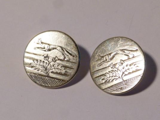 botones 2 x RARE Antique Georgian 1815 Silver Engraved Thistle & Fox Hunt Buttons
