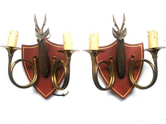 caza braquetes escudo de madera cuernos de caza y ciervos de bronce francia 1930