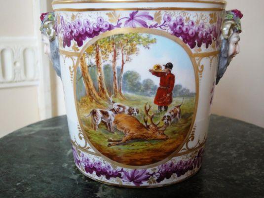 caza hielera de porcelana derby inglaterra 1850