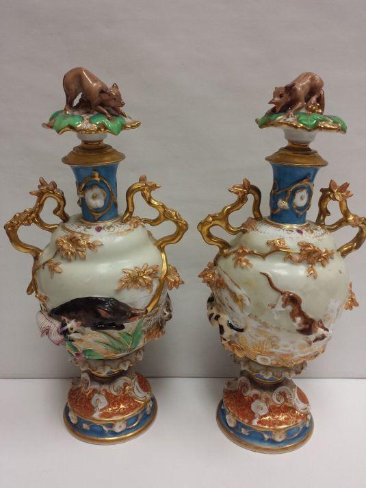 caza jarrones de porcelana alemana 1930 caza de jabalies