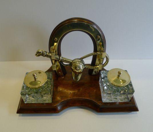 caza juego de escritorio con tinteros madera cristal y bronce inglaterra 1880