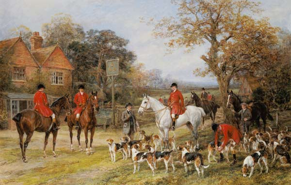 caza MEETING BEFORE THE FOX-HUNT por HEYWOOD HARDY