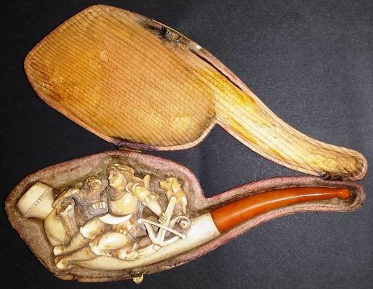 caza pipa rumana de madera tallada con estuche 1900