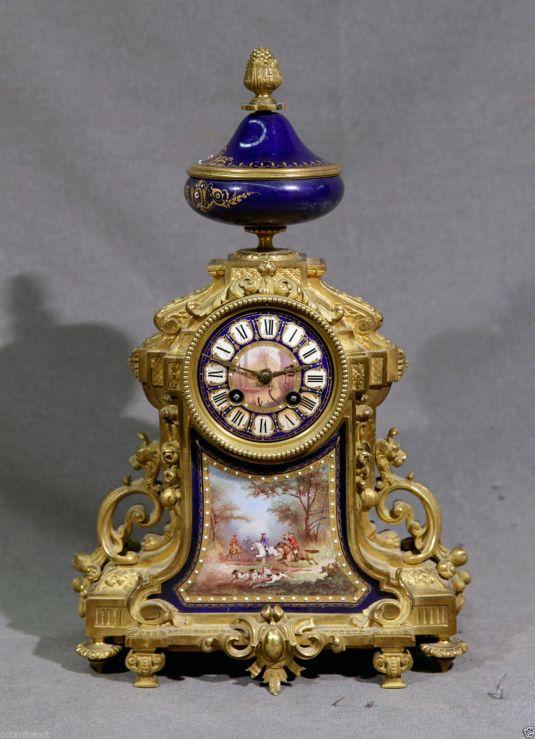 caza reloj bronce y porcelana sevres francia 1850