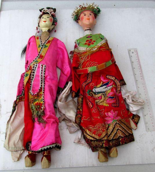 marionetas chinas 1850 cuerpo madera cabeza arcilla ropa seda bordada