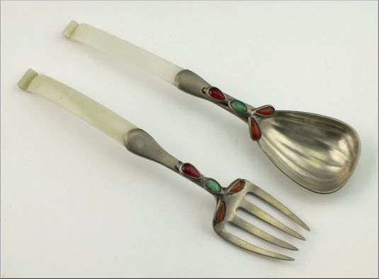 peltre y jade cubiertos chinos para ensalada siglo 19