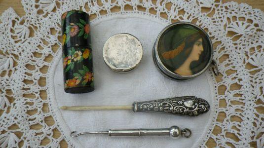 crochet de hueso y mango plata labrada inglaterra 1850