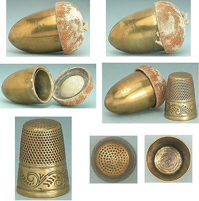 dedal latón forro bellota con seda inglaterra 1880